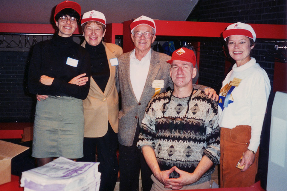 Northup (rightmost) at the 1994 Chemistry Day event with colleagues including Richard Cornell (2nd from R), Adele Rozek (2nd from L).