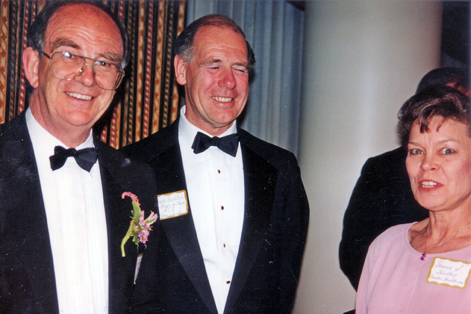 Northup (R), serving as Chair at the 1995 Willard Gibbs Medal ceremony honoring Sir John Thomas Muerig (L), with 1995 ACS President Dr. Brian Rushton